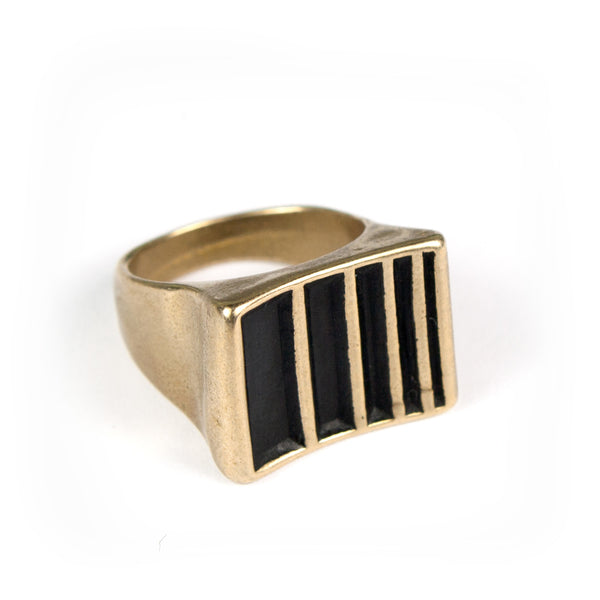 Handmade cast bronze ring with black bars made by betsy & iya in Portland, OR.