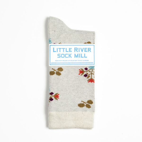 Vintage Floral Crew Sock - Heather