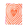 "Red and white greeting card with a pink envelope. The center of the card says "" CRUSHING ON YOU,"" and is blank inside. The Crushing on You Card from Ashkahn is designed in Los Angeles and printed in Portland."