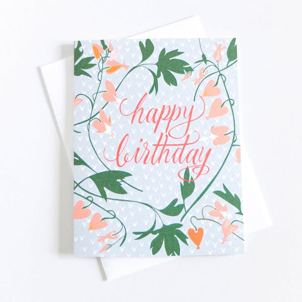 Banquet Cards Birthday Bleeding Hearts Card