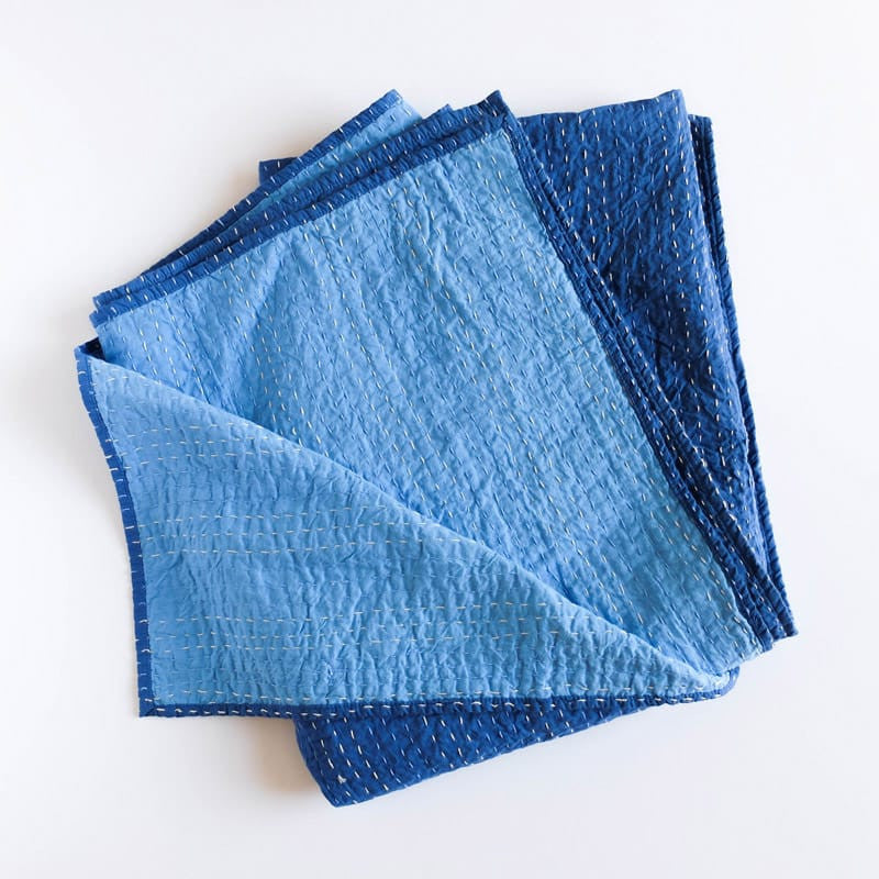 Barmer Kantha Throw - Blue