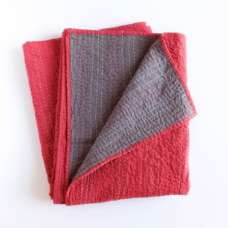 Barmer Kantha Throw - Red/Gray