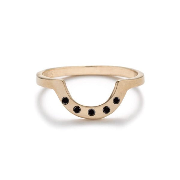 """Cor"" contoured black diamond ring matte - betsy & iya"
