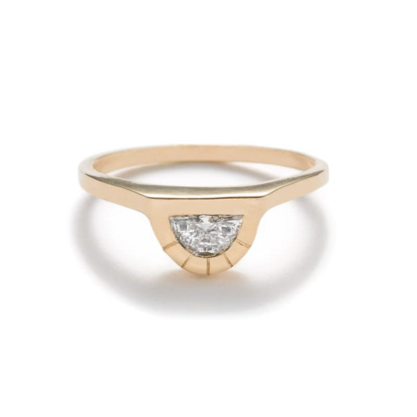 """Omnia"" medium half moon diamond ring polished - betsy & iya"