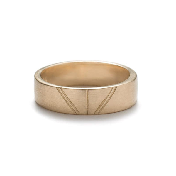 """Tange"" geometric gold wedding band matte - betsy & iya"
