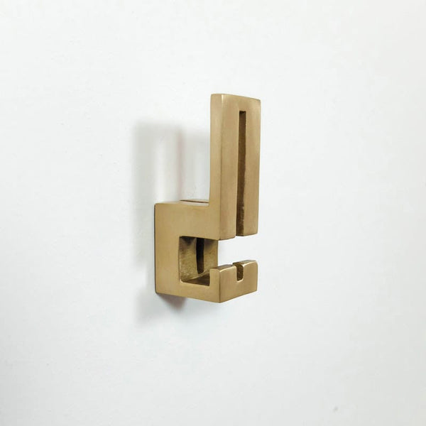 betsy & iya geometric cast bronze double coat hook