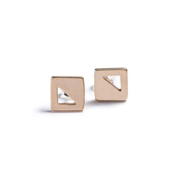 betsy & iya small modern geometric square stud earrings in bronze