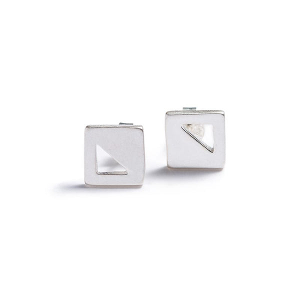 betsy & iya modern minimalist geometric square stud earrings in sterling silver