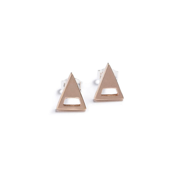 betsy & iya modern minimalist geometric triangle stud earrings in bronze