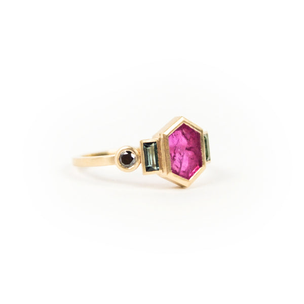 one of a kind gold and hexagonal ruby ring with tourmaline and black diamonds