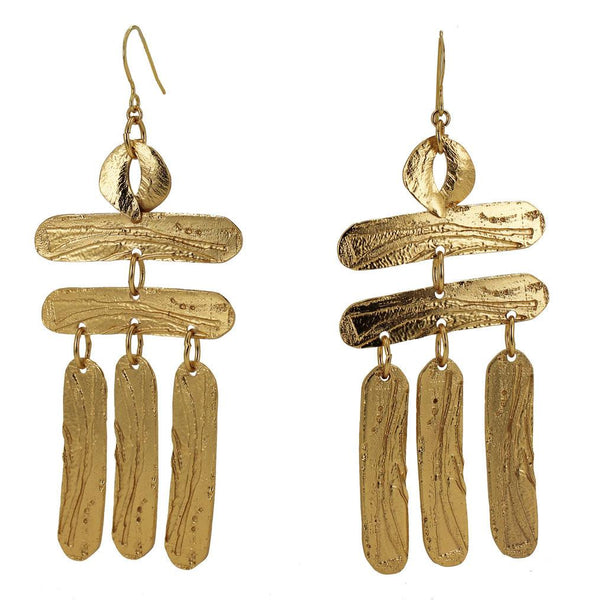 Etched brass dangling earrings with a vermeil earwire. The Building a Ladder earrings are from designer Lingua Nigra.