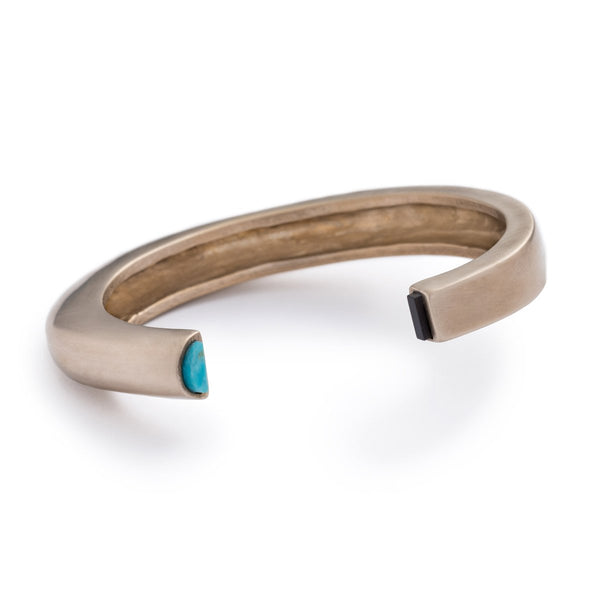Bronze Cima Cuff with Kingman Turquoise and Black Jasper