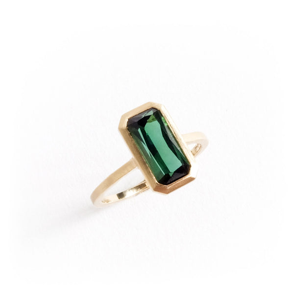 Barion Cut Tourmaline Solitare Ring