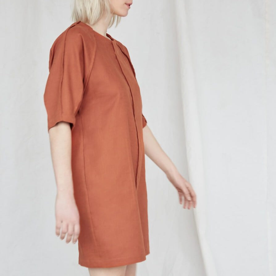 Moonless Night Dress in Burnt Orange