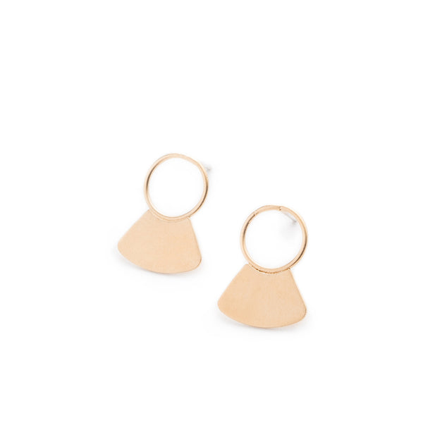 Small, 14k gold-plated studs, featuring a delicate, open circle with a solid fan shape at the base, and sterling silver earring posts. Hand-crafted in Portland, Oregon.