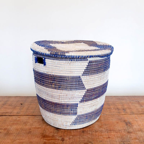Large Lidded Senegal Basket in White and Blue