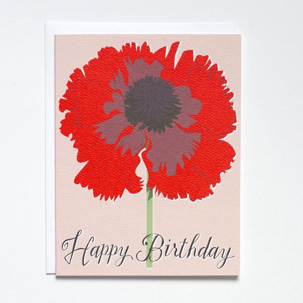 """Happy Birthday"" Neon Red Poppy Card"