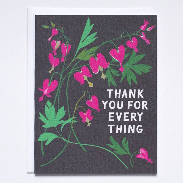 Bleeding Heart Floral Bouquet Thank You Card