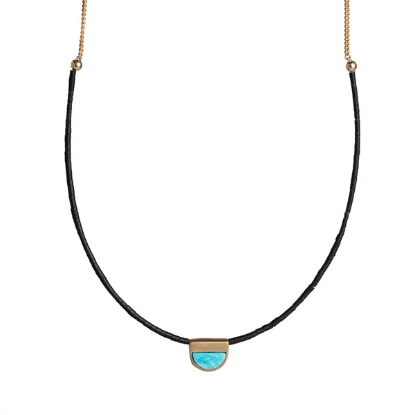 Inti necklace in bronze, focus on Kingman turquoise focal piece