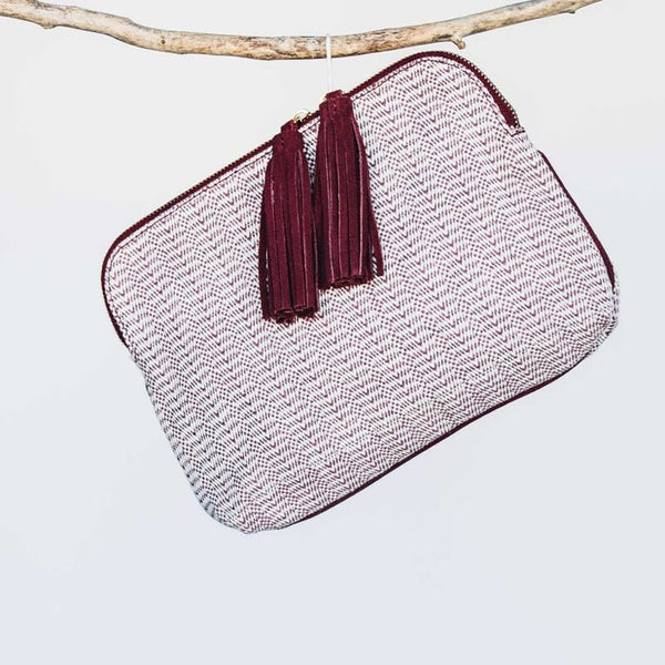 Kavya Clutch - Burgundy/White