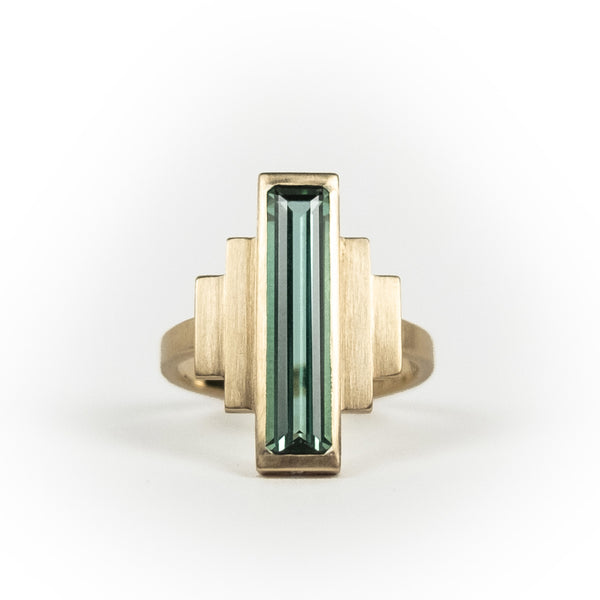 Rectangle Green/Blue Tourmaline & Diamond Cocktail Ring
