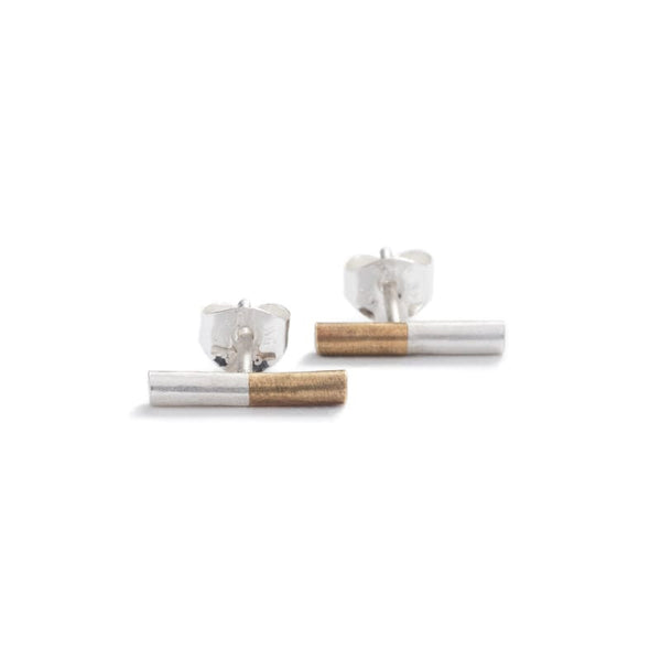 """Suru"" mixed metal stud earrings - betsy & iya"