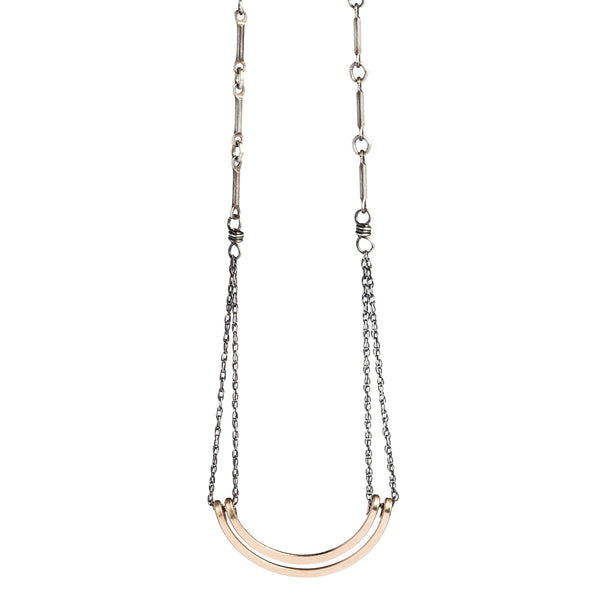 Amy Olson Mixed Double Gold Arc Necklace