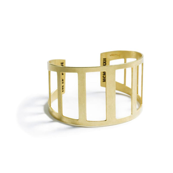 Modern, minimal, adjustable brass cuff modeled after the 360 Bridge, also know as the Pennybacker Bridge, in Austin, Texas, with the bridge's coordinates and date of construction engraved on the inner cuff.  Hand-crafted in Portland, Oregon.