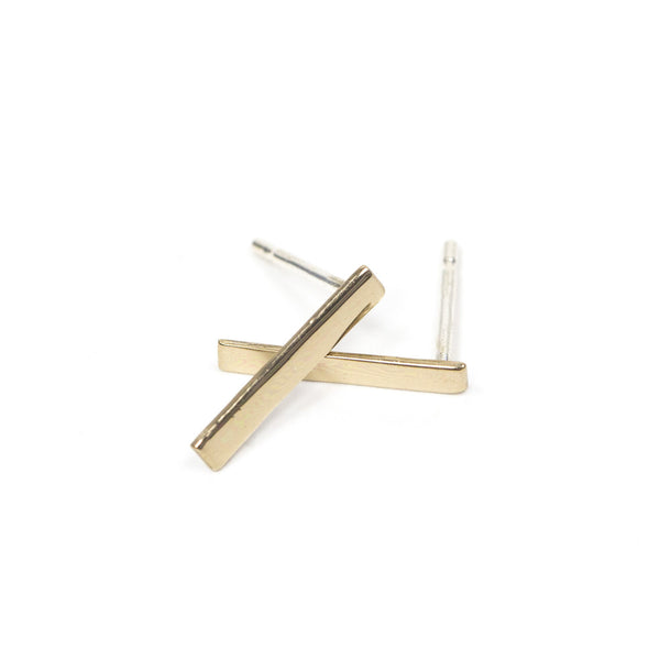 Upper Metal Class Minimalist Bronze Rectangle Bar Earrings
