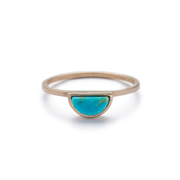 Bronze Sisa ring with Kingman turquoise front view