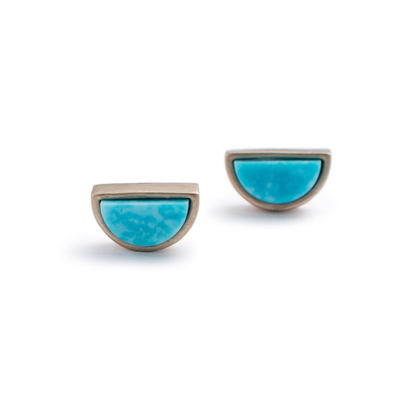 Bronze mini-semicircle Sisa studs with Kingman turquoise front view