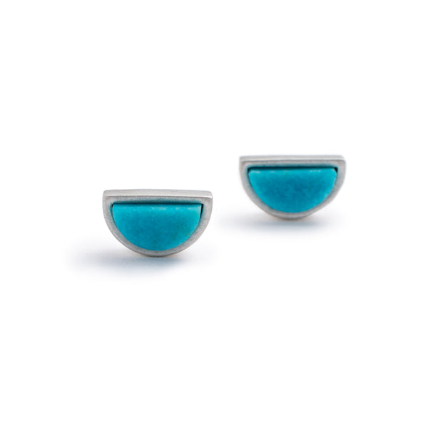 Sterling silver mini-semicircle Sisa studs with Kingman turquoise front view