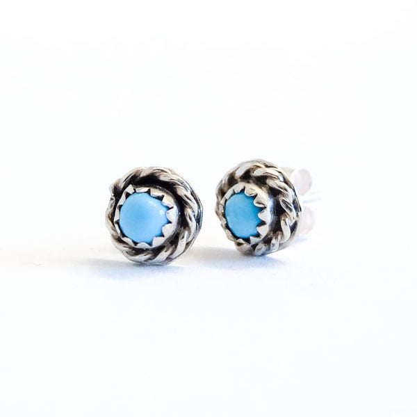 Silver Rope Turquoise Stud Earrings