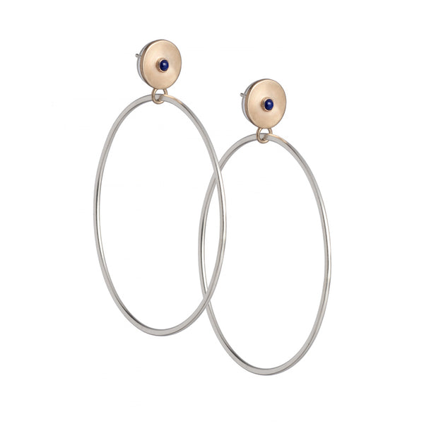 Sleek bronze studs featuring a bezel set, fair trade, and ethically sourced lapis lazuli, with large silver hoops dangling below. Hand-crafted in Portland, Oregon.