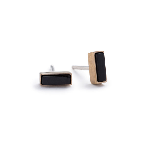 Bronze Yana mini-rectangle stud earrings with black jasper