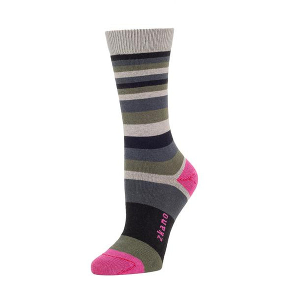 A striped sock against a white background. The sock has grey, blue and green stripes in varying widths. The heel and toe of the sock is a fuchsia color, as well as the logo along the arch. The Charlotte Multi Stripe Crew Sock is from Zkano and made in Alabama, USA.