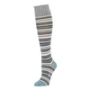 A knee high striped sock with blue, grey and brown stripes in varying widths. The toe and heel are a light blue color, and the cuff of the sock is grey. The Elizabeth Variegated Knee High Sock is from zkano and made in Alabama, USA.
