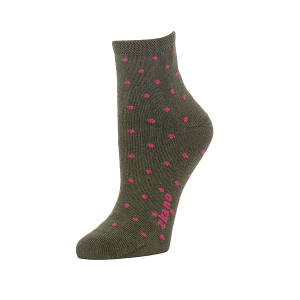 "A dark green sock with bright pink polka dots and a bright pink ""zkano"" logo against the arch. The Polka Dot Anklet Sock in Army is from Zkano and made in Alabama, USA."