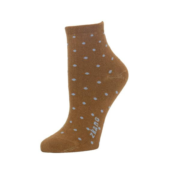 Brown ankle sock against a white background. The sock features a small polka dot pattern in light blue, and the logo along the arch is also light blue. The Polka Dot Anklet from Zkano is made in Alabama, USA.