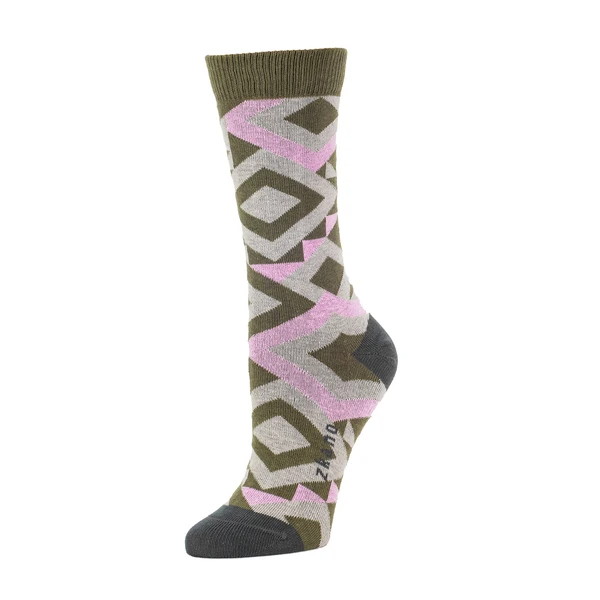 A sock with a fun quilted pattern in green, pink and grey. The toe and heel are a dark grey and the cuff of the sock is dark green. The Prairie Quilted Crew Sock in Army is from designer zkano, and made in Alabama, USA.