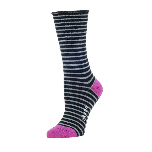 Black and grey striped sock against a white background. The heel and toe of the sock are a fuchsia color. The Rose Roll Top Stripe Slouch Sock from Zkano is made in Alabama, USA.