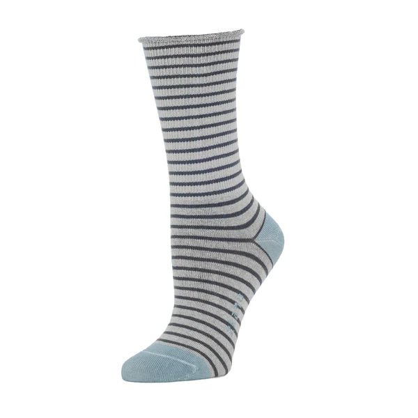 A grey and blue striped sock with a slightly rolled cuff. The heel and toe of the sock are light blue. The Rose Roll Top Stripe Slouch Sock in Heather is from designer Zkano and made in Alabama, USA.