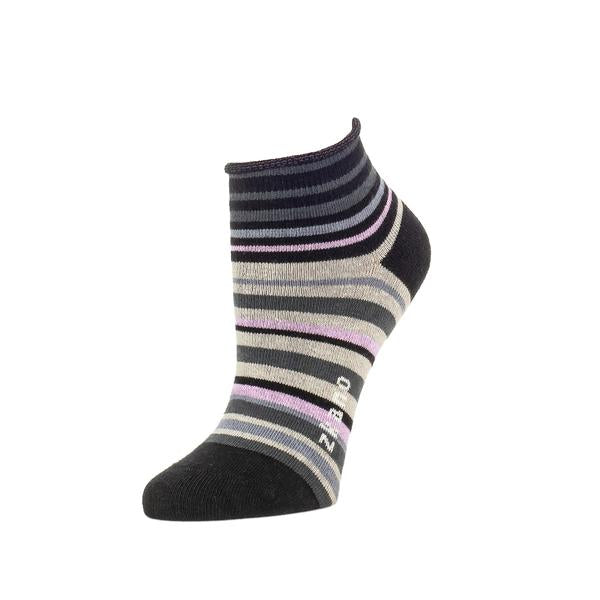 Ankle sock against a white background. The sock has black, grey and light purple stripes in varying widths. The heel and toe of the sock are black. The Rosie Stripe Bootie Sock is from Zkano and made in Alabama, USA.