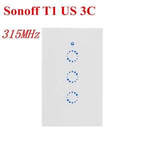 Sonoff T1 Smart Switch 1-3Gang EU UK WiFi & RF 86 Type Smart Wall Touch Light Switch Smart Home Automation Module Remote Control