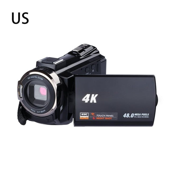 Digital HD Video Camera 4K WiFi Ultra 1080P 48MP 16X ZOOM Camcorder+Microphone+Wide Angle Lens Home Use Camera Video Recorder