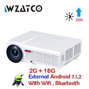 WZATCO LED96W LED 3D Projector 5500Lumen Android 7.1 Smart Wifi full HD 1080P support 4k Online video Beamer Proyector for home