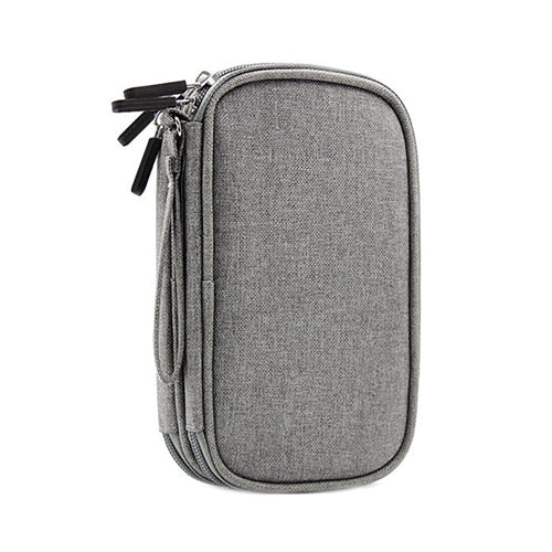 Travel Digital Cable Bag Portable Universal Cable Organizer Case Power Bank Earphones Double Layer Gadget Pouch Accessories Gear