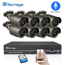 Load image into Gallery viewer, Techage 8CH 1080P HDMI POE NVR Kit CCTV Security System 2MP IR Outdoor Audio Record IP Camera P2P Video Surveillance Set 2TB HDD