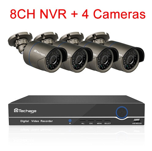 Techage 8CH 1080P HDMI POE NVR Kit CCTV Security System 2MP IR Outdoor Audio Record IP Camera P2P Video Surveillance Set 2TB HDD