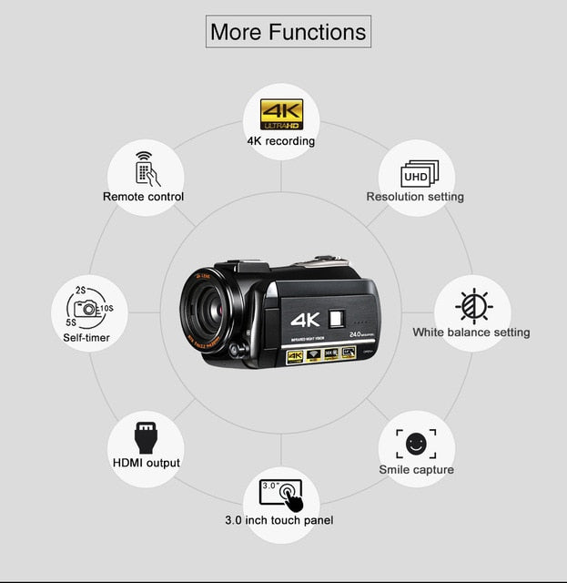 ordro UHD 4k WIFI digital video camera with 3.0'' Touch display wifi night vision digital video camcorder Hot shoe